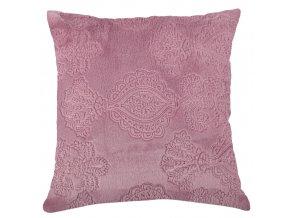 Polštář NOTRE DAME 40x40 cm mikrovlákno růžová plastický vzor Essex RUZOVA