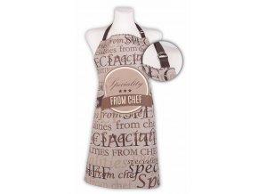 Kuchyňská bavlněná zástěra SPECIALITIES, hnědá, Essex, 100% bavlna