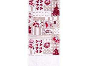 Utěrka HAPPY CHRISTMAS, béžová, mikrovlákno 38x63 cm, Essex