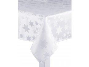 Ubrus CHRISTMAS DE LUXE, 150x220 cm, bílá, motiv hvězdičky, ESSEX