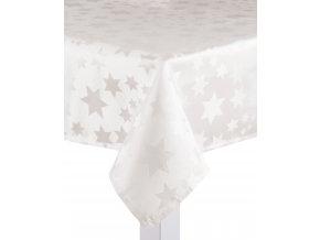 Ubrus CHRISTMAS DE LUXE, 150x220 cm, smetanová, motiv hvězdičky, ESSEX