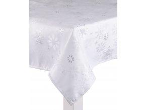 Ubrus CHRISTMAS POSH, 130x180 cm, stříbrné vločky, ESSEX