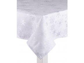 Ubrus CHRISTMAS POSH, 130x180 cm, šedé vločky, ESSEX