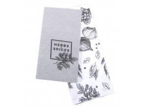 Utěrka SPICES, 2 kusy 100% bavlna, šedá, 45x65 cm Essex