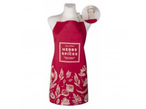 Kuchyňská bavlněná zástěra SPICES, červená, Essex, 100% bavlna