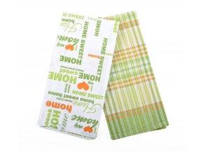 Utěrka SWEET HOME, 2 kusy 100% bavlna, zelená, 45x65 cm Essex