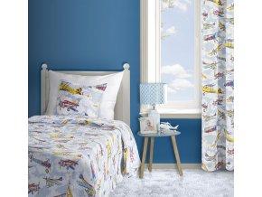 Přehoz na postel PATRICK 170x210 cm bílá/modrá  Mybesthome