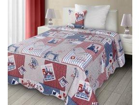 Přehoz na postel WORLD 170x210 cm modrá/červená  Mybesthome