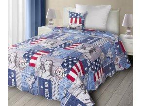 Přehoz na postel GO WEST 170x210 cm modrá  Mybesthome