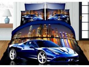 Povlečení 3D BLUE CAR 02 set 4 ks, francouzské povlečení, 1x 200x220 cm, 2x 70x80 cm, prostěradlo 200x225 cm MyBestHome