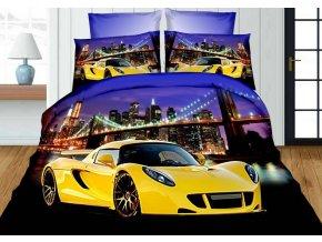 Povlečení 3D YELLOW CAR set 4 ks, francouzské povlečení, 1x 200x220 cm, 2x 70x80 cm, prostěradlo 200x225 cm MyBestHome