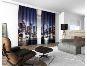 3D dekorační závěs 111V BLUE NIGHT CITY 160x250 cm set 2 kusy MyBestHome