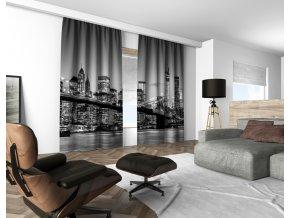 3D dekorační závěs 119V BW NIGHT CITY 160x250 cm set 2 kusy MyBestHome