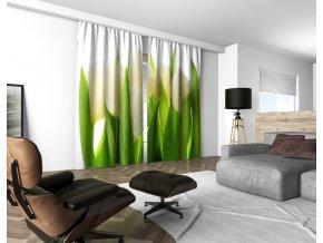 3D dekorační závěs 203V WHITE TULIPS 160x250 cm set 2 kusy MyBestHome