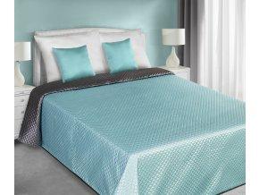 Přehoz na postel CHIK 220x240 cm tyrkysová/stříbrná Mybesthome