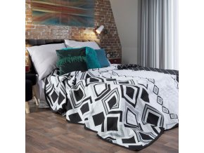 Přehoz na postel FEDDE 220x240 cm stříbrná/černá Mybesthome