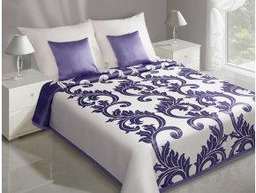 Přehoz na postel CLAUDIA 220x240 cm krémová/fialová Mybesthome