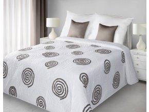 Přehoz na postel HUBERT 220x240 cm bílá/hnědá Mybesthome
