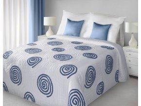 Přehoz na postel HUBERT 220x240 cm bílá/modrá Mybesthome