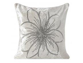 Polštář SILKE bílý MybestHome 45x45cm motiv štrasová květina