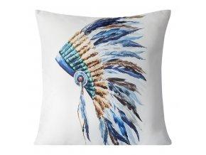 Polštář INDIÁN bílá MyBestHome 40x40cm motiv indiánské čelenky