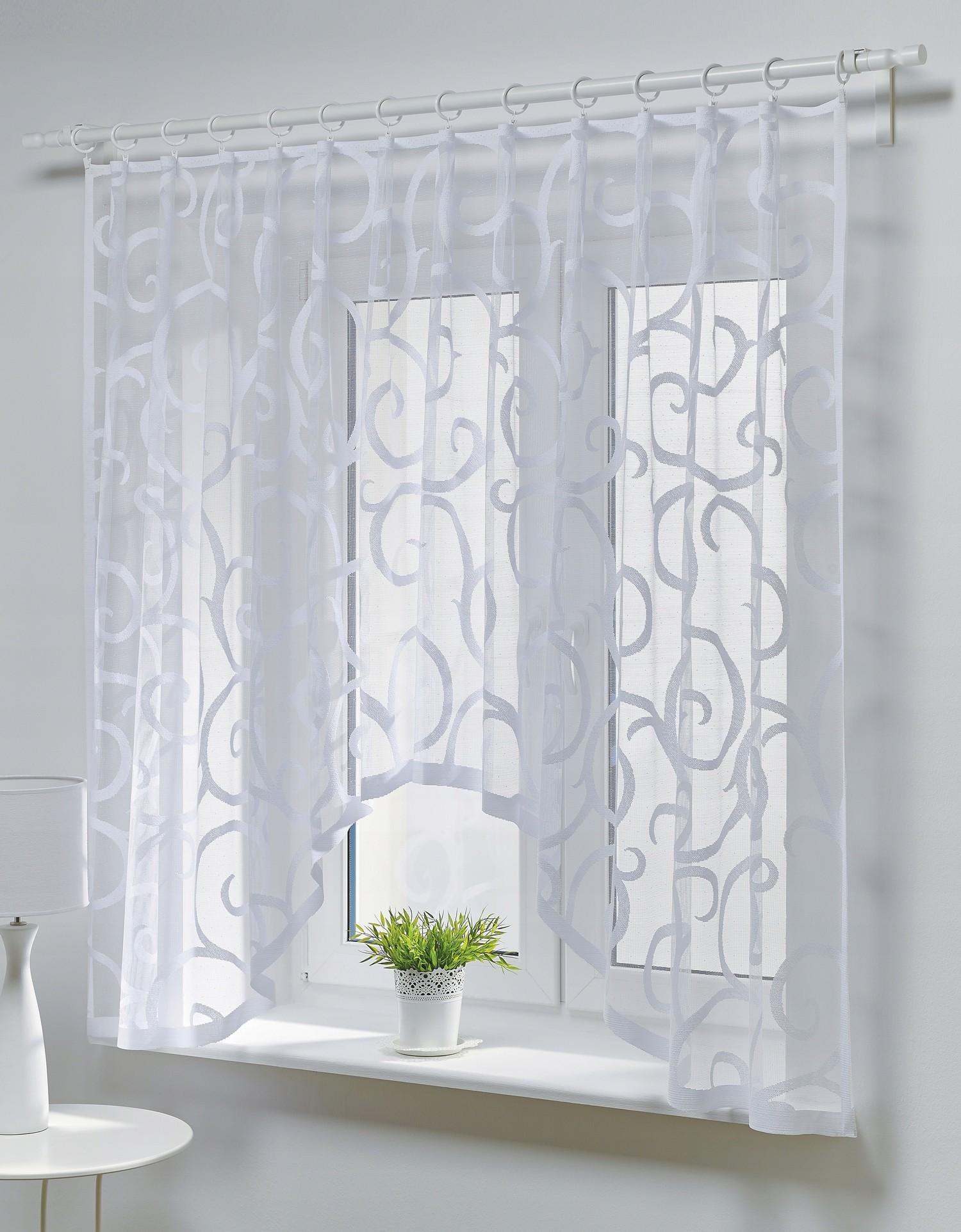 Dekorační oblouková krátká záclona SCROLL bílá 300x150 cm MyBestHome
