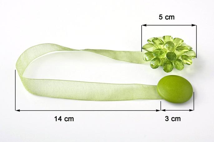 Dekorační ozdobná spona na závěsy s magnetem MONICA, žluto/zelená, Ø 5 cm 2 kusy v balení Mybesthome