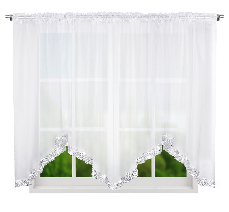 Dekorační krátká záclona se zirkony NATHALIE bílá 300x150 cm nebo 400x150 cm MyBestHome Rozměr: 400x150 cm