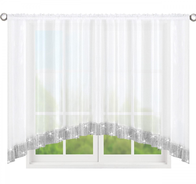 Dekorační krátká záclona se zirkony CHRISTINE bílá 300x150 cm nebo 400x150 cm MyBestHome Rozměr: 400x150 cm