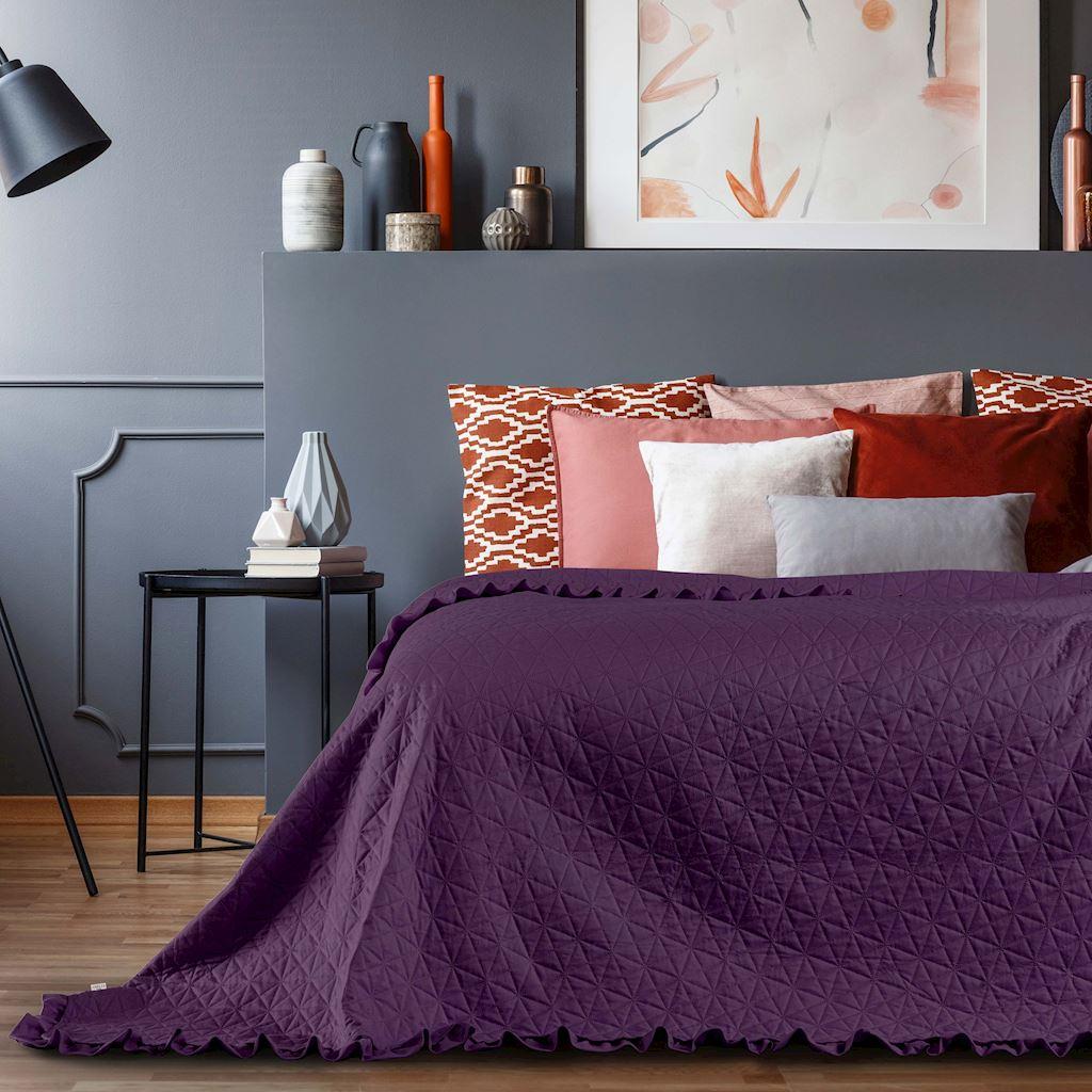 Přehoz na postel TULIA 220x240 cm fialová Mybesthome