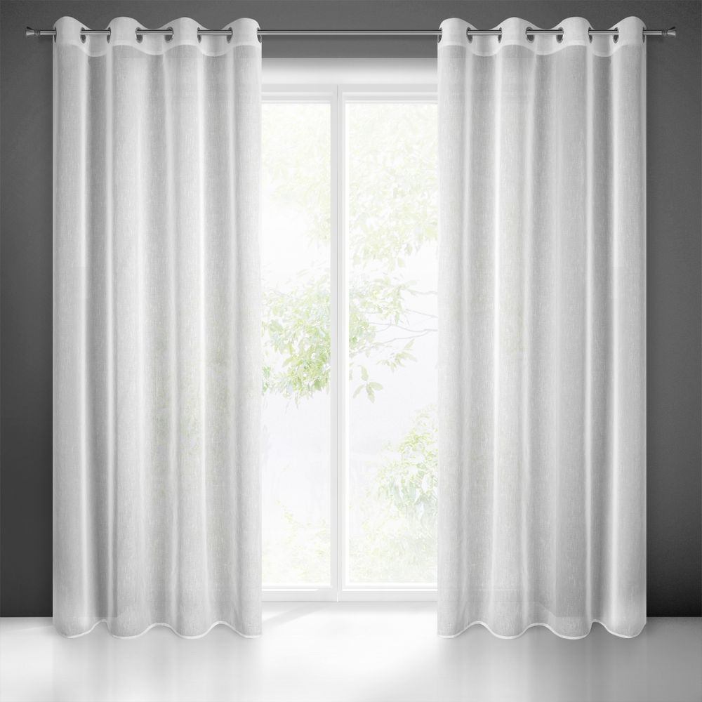 Dekorační dlouhá záclona s jemnou strukturou s kroužky SUZIE bílá 140x250 cm (cena za 1 kus) MyBestHome