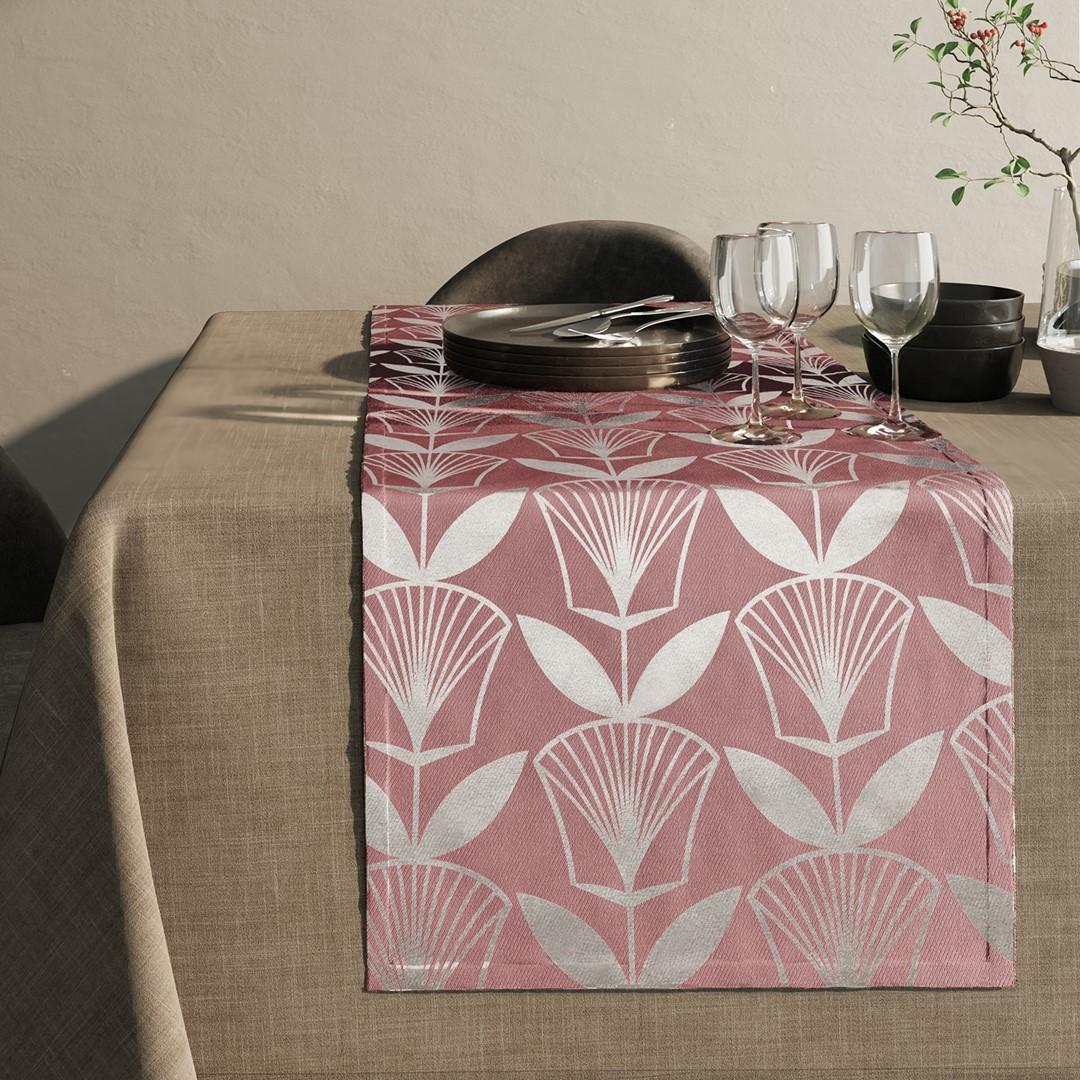 Ubrus - běhoun na stůl FLORA růžová 40x140 cm Mybesthome