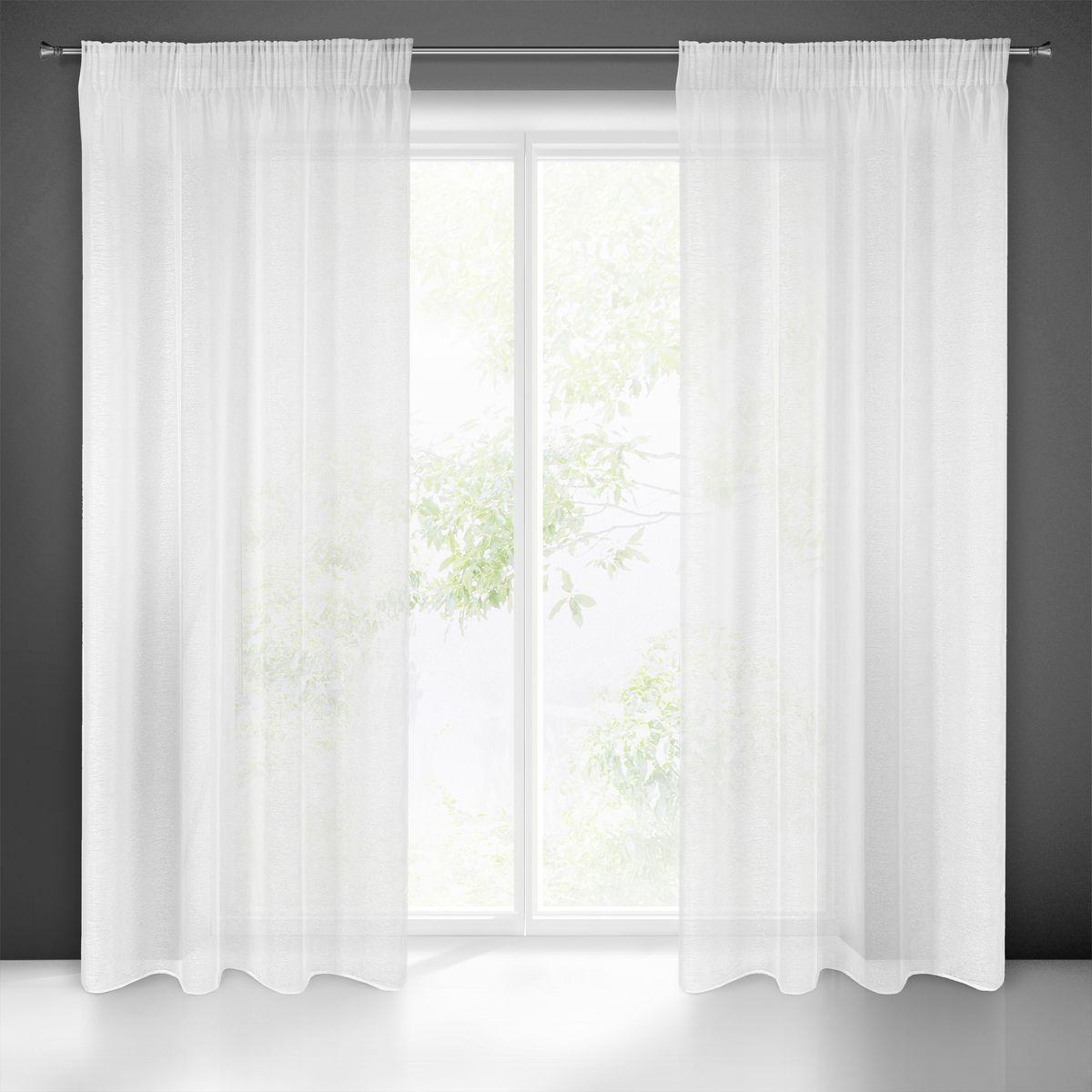 Dekorační dlouhá záclona s jemnou strukturou s řasící páskou ROMA bílá 140x250 cm (cena za 1 kus) MyBestHome