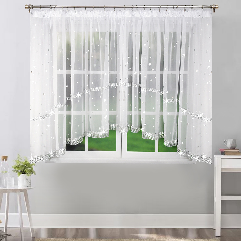 Dekorační krátká záclona se zirkony CAROLINE II. bílá 400x150 cm MyBestHome