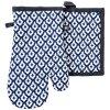 EKuchyňský set rukavice/chňapka TIMEX modrá/černá, 18x30 cm/20X20 cm ESSEX, 100% bavlna