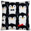 Polštář COOL PETS 40x40cm, motiv tučňáci, mikrovlákno Essex