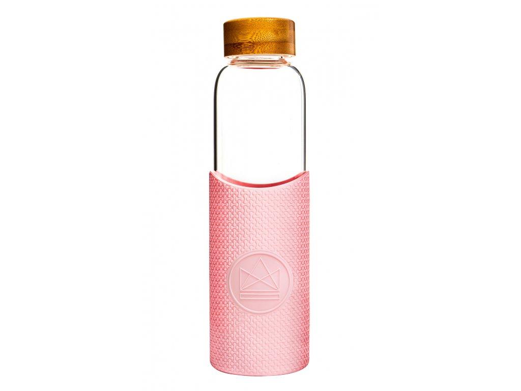 Skleněná láhev na vodu Neon Kactus Glass Water Bottle Pink Flamingo 550 ml
