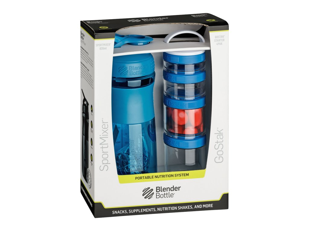 467 1 blenderbottle combo pak sportmixer shaker und gostak starter 4pak cyan 760 ml
