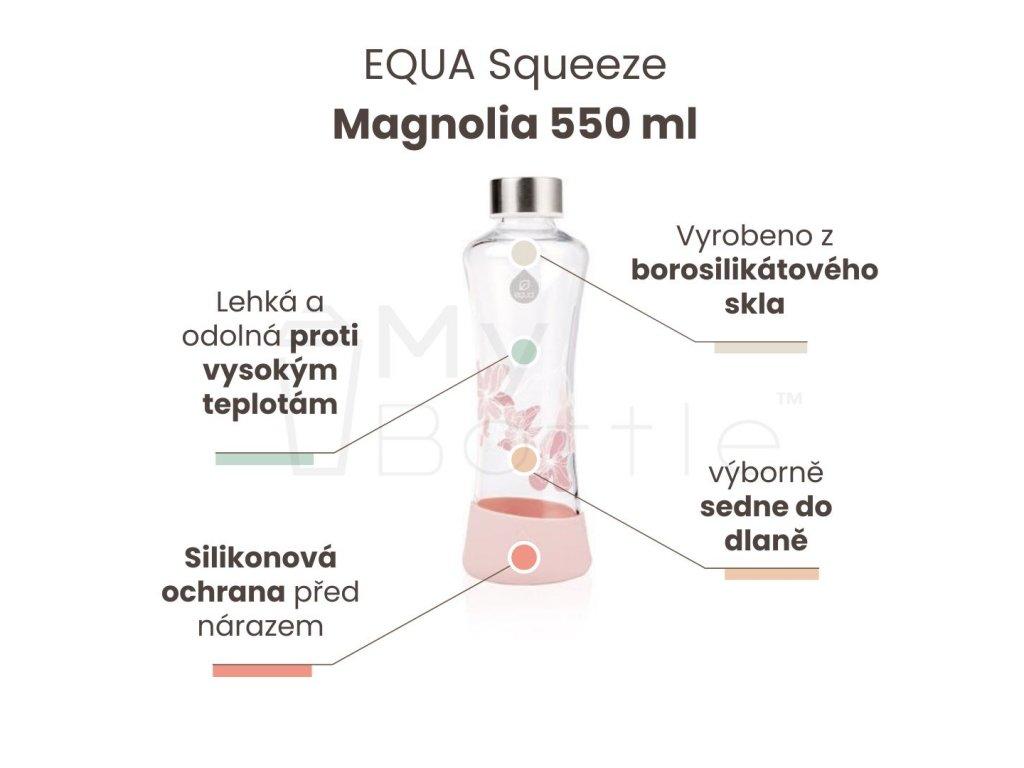 Skleněná láhev EQUA Squeeze - Magnolia 550 ml