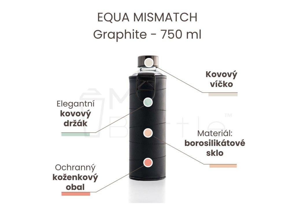 Skleněná láhev EQUA MISMATCH - Graphite 750 ml