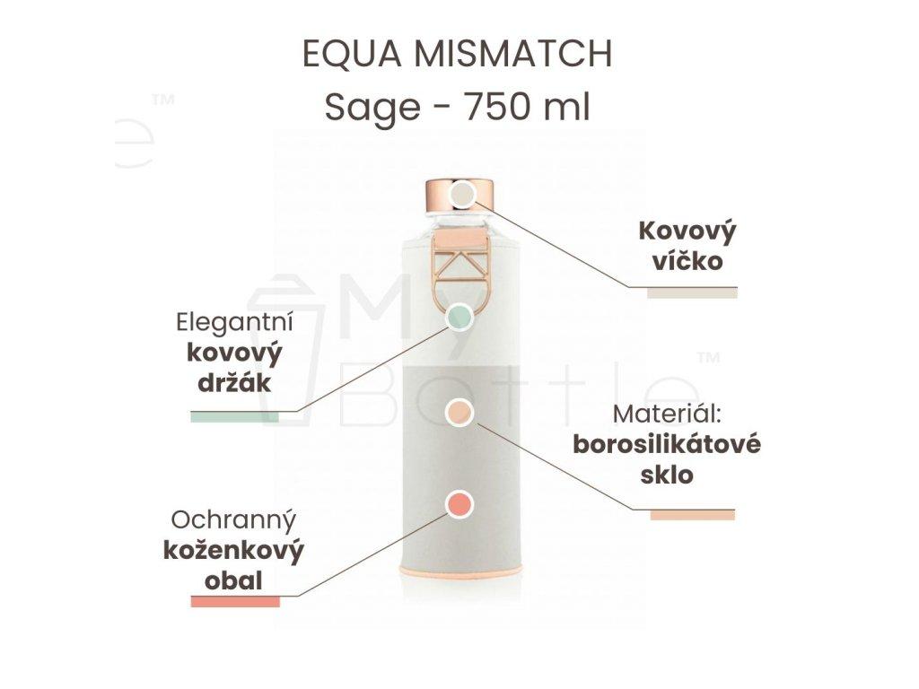 Skleněná láhev EQUA MISMATCH - Sage 750 ml