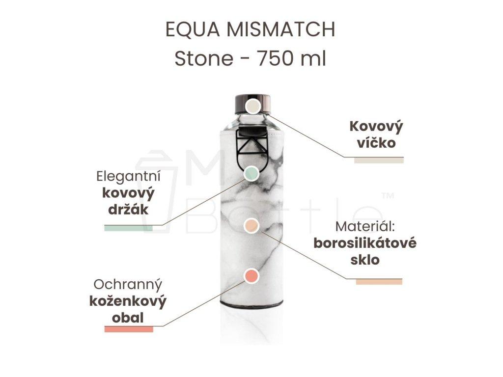 Skleněná láhev EQUA MISMATCH - Stone 750 ml