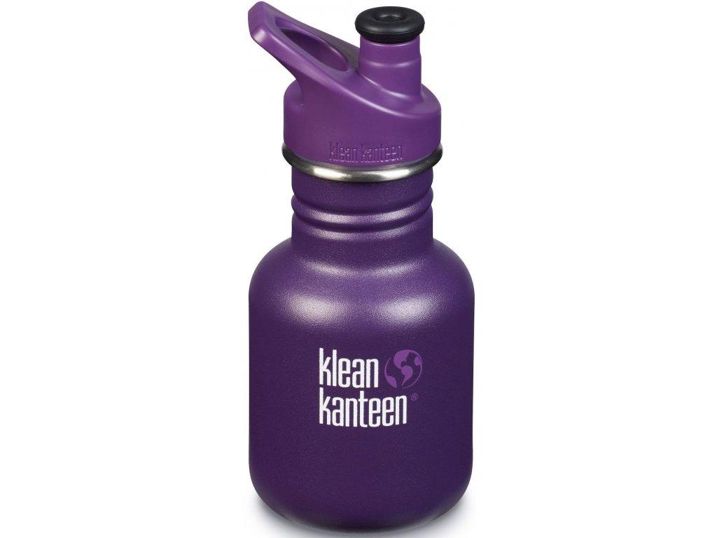 Dětská nerezová láhev do školy KLEAN Kanteen Kid Classic w / Kid Sport Cap 3.0 nerezová dětská láhev - grape jelly matte 355 ml