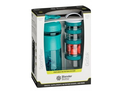 74 blenderbottle combo pak sportmixer shaker und gostak starter 4pak teal 760 ml