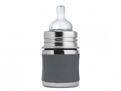 761 pura nerezova dojcenska flasa siva 150 ml