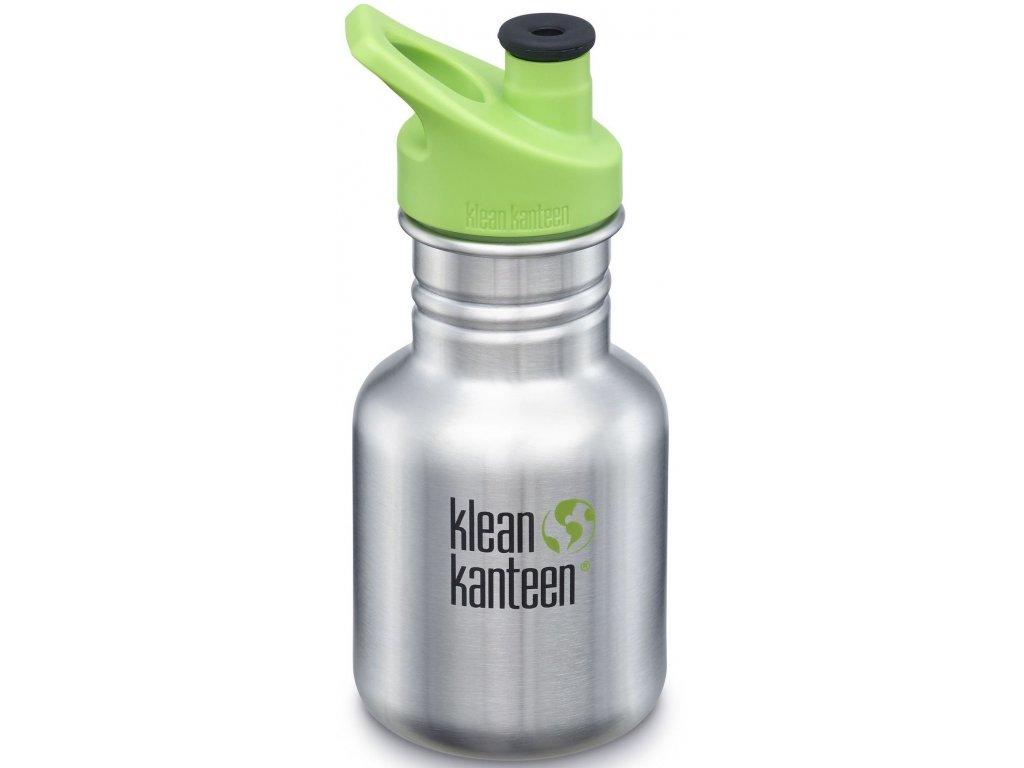 Detská nerezová fľaša do školy Klean Kanteen Kid Classic w/Kid Sport Cap 3.0 - brushed stainless 355 ml