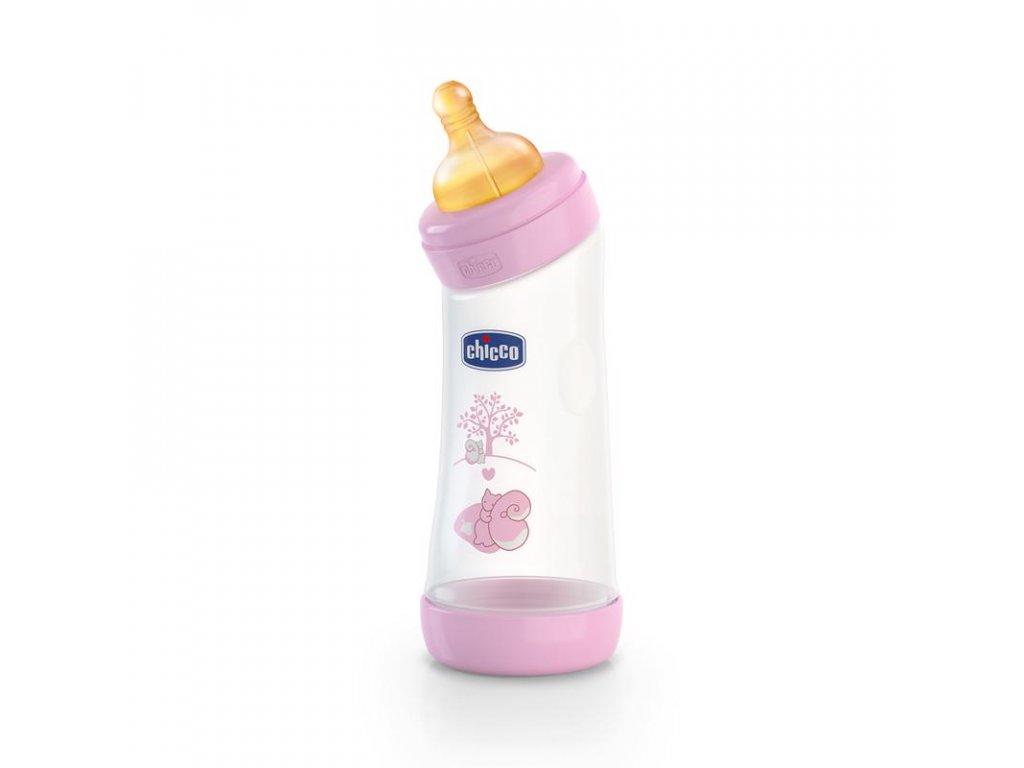 Dojčenská fľaša zahnutá bez BPA CHICCO Well-Being kaučukový cumlík ružová 250ml