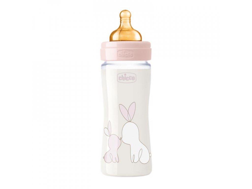 Sklenená dojčenská fľaša CHICCO Original Touch latex, 240 ml - dievča