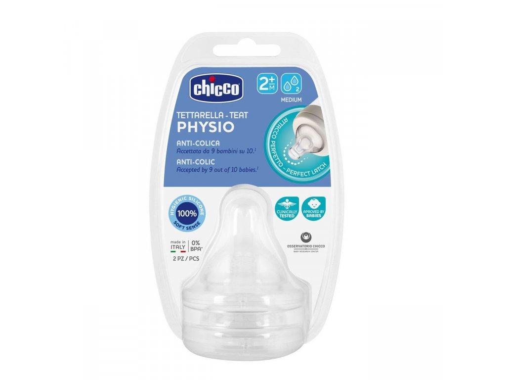 Cumeľ na fľašu CHICCO Perfect 5 fyziologický silikón, stredný prietok 2 m+, 2 ks