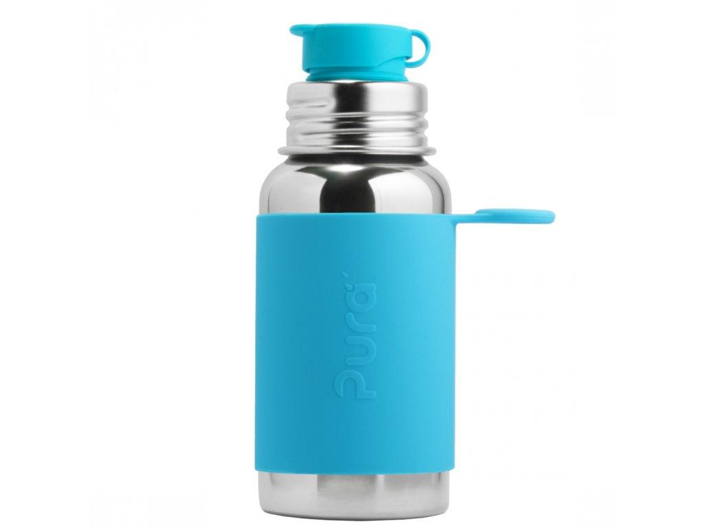 Nerezová fľaša PURA so športovým uzáverom aqua